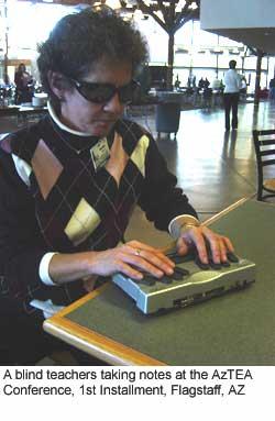 A blind teacher taking notes