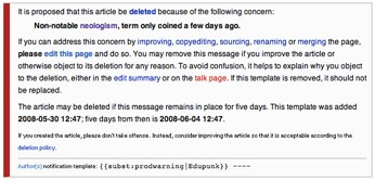 Picture of Warning Message from Wikipedia