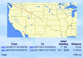 Today's Route from Colorado Springs to Vancouver