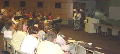 Vivian Vande Velde speaking to NY educators