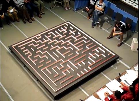 Robot mouse explores maze.