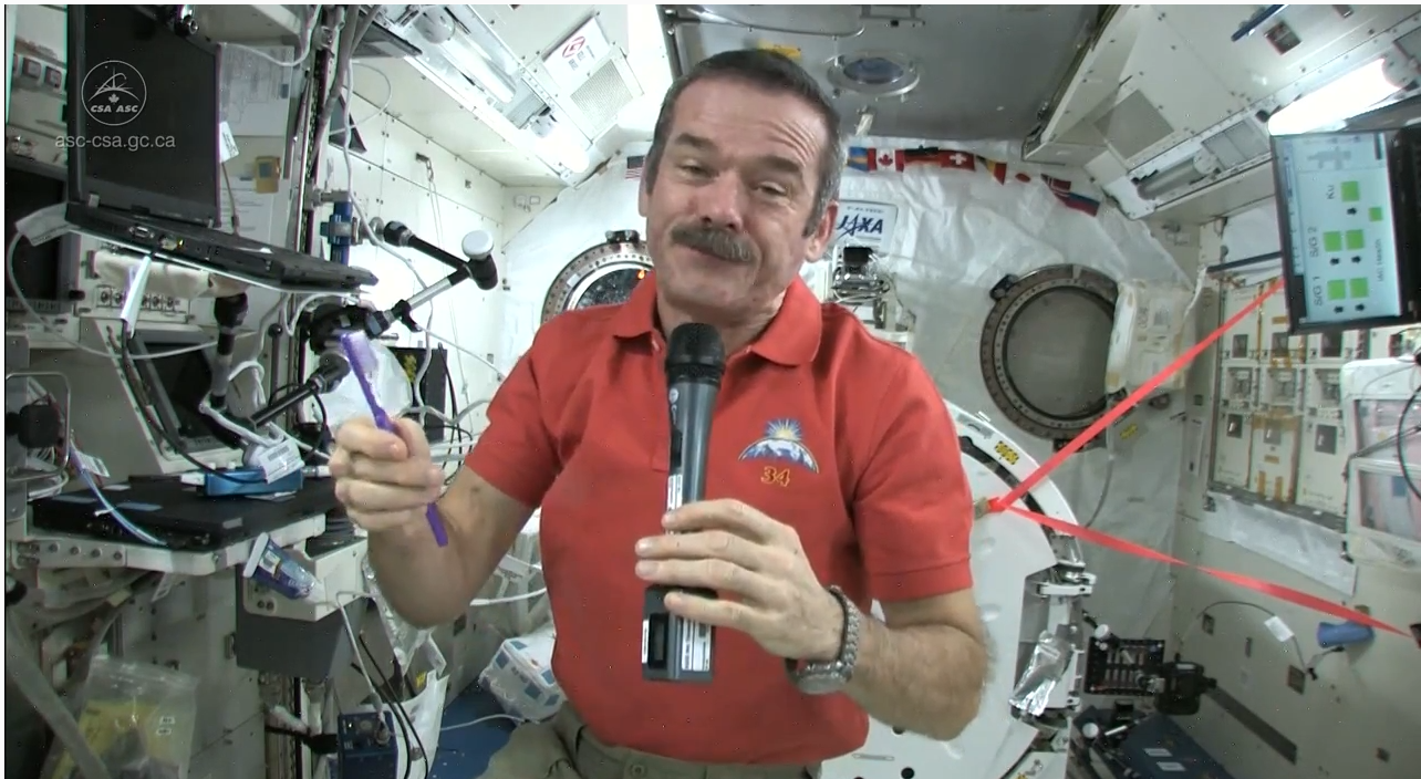 Brushing your teeth in space.