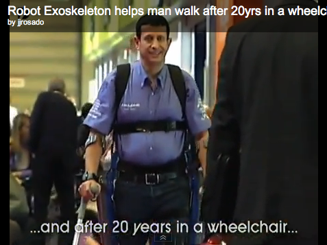 Man walks with exoskeleton